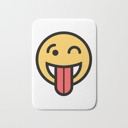 Smiley Face   Big Tongue Out And Squinting Joking Happy Face Bath Mat
