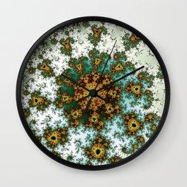 Afro Spiral Flower - fractal art Wall Clock