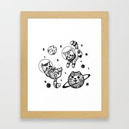Kitty Cats Flying in Space - Kittens Framed Art Print