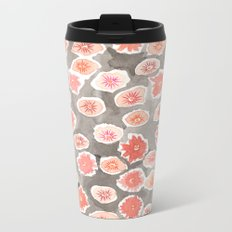 Watercolor flowers pink and gray by robayre Metal Travel Mug