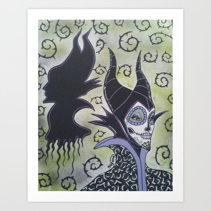 Maleficent Sugar Skull Art Print