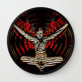 0395s-PDJ Winged Angel of Inner Passion Zebra Striped Nude Power Woman Wall Clock