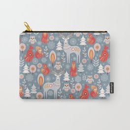 Fairy forest, deer, owls, foxes. Decorative pattern in Scandinavian style. Folk art. Carry-All Pouch