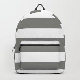 Battleship grey - solid color - white stripes pattern Backpack
