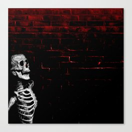skeleton on a wall Canvas Print