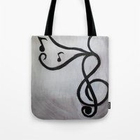 music notes Tote Bags featuring Music Notes by S. Vaeth