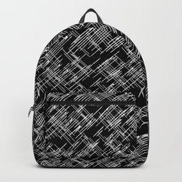 White and Black Hatch Pattern Digital Art Backpack