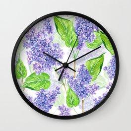 Violet lilacs watercolor Wall Clock