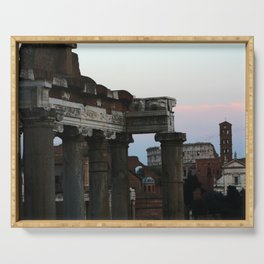 Roman Forum and Colosseum of Rome at Sunset Serving Tray