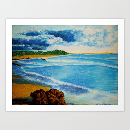 Cloudy Beach Art Print