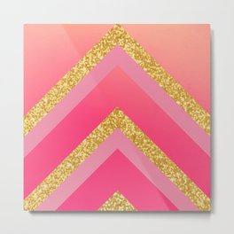 Pink, Rosé, Coral, Gold Triangles - Ombré Watercolor Metal Print