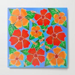 Hibiscus Batik Pattern Metal Print