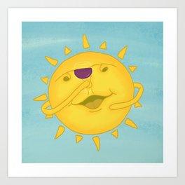 Cute, Funny Sunshine & Wine Cheers Cartoon Art Print