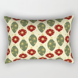 Vintage Festive Hand-painted Christmas Tree Ornaments with Beautiful Acrylic Texture, Muted Colors Rectangular Pillow