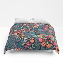 Sweet Spring Floral - melon pink, butterscotch & teal Comforters