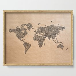 Henna Ink World Map Serving Tray