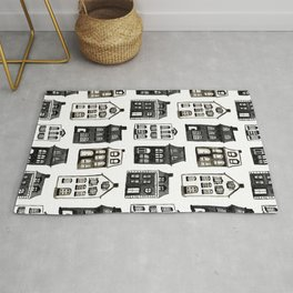 Mansard Mansions in Black + White Watercolor Rug