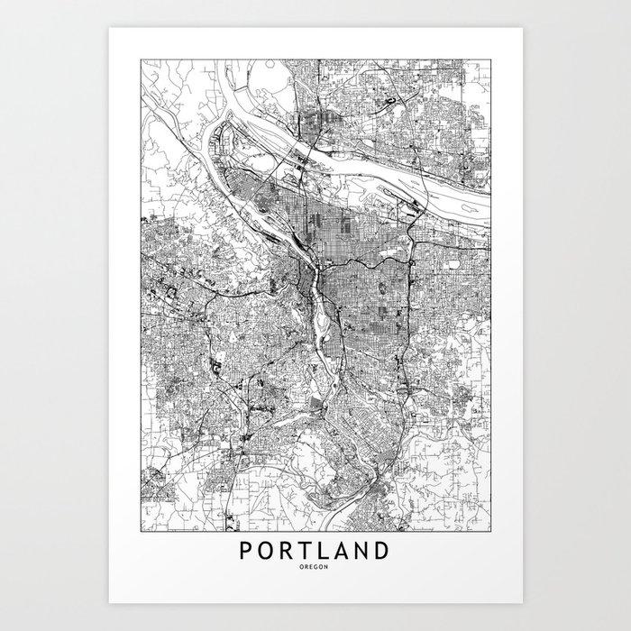 Portland White Map Kunstdrucke