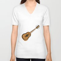 guitar V-neck T-shirts featuring Guitar by shopaholic chick