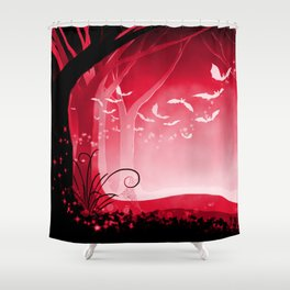 Dark Forest at Dawn in Ruby Shower Curtain