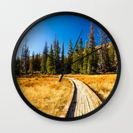 Wooden hiking trail in the forest Wall Clock