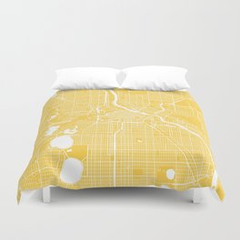Minneapolis map yellow Duvet Cover