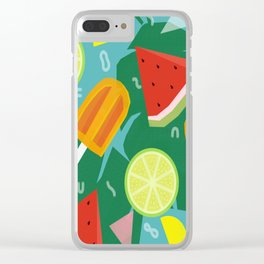 Watermelon, Lemon and Ice Lolly Clear iPhone Case