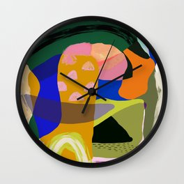 Shapes and Layers no.20 - Abstract painting olive green blue orange black Wall Clock