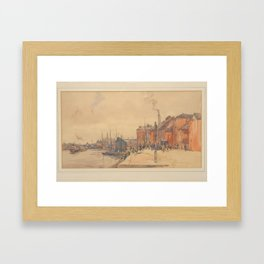 Frederick (Fred) Lawson (1888-1968) Figures and vehicles on a quayside Framed Art Print