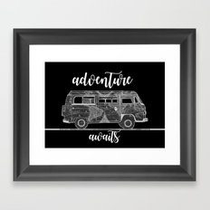adventure awaits world map design 5 Framed Art Print