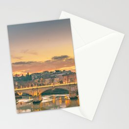 Cityscape Sunset Scene at Tiber River, Rome, Italy Stationery Cards