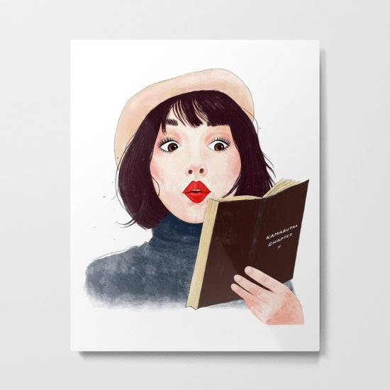 French woman with book Metal Print
