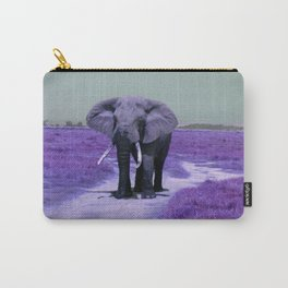 African Bull Elephant in Purple Carry-All Pouch