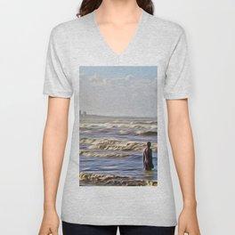 Stormy Day (Digital Art) Unisex V-Neck