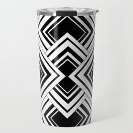Black And White Art Deco Squares Travel Mug
