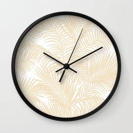 Modern tropical elegant ivory palm tree pattern Wall Clock