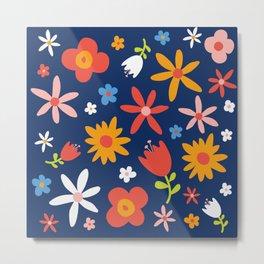 Simply  Flowers Floral Pattern on Blue Metal Print