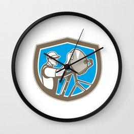 TV Satellite Dish Installer Shield Retro Wall Clock