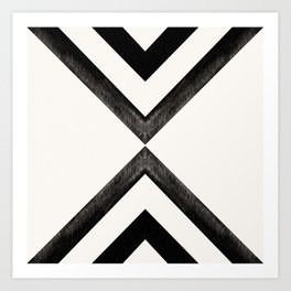 Converging Triangles Black and White Moroccan Tile Pattern Art Print