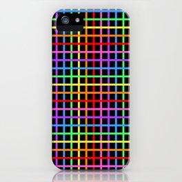 Rainbow Grid - Black Background iPhone Case