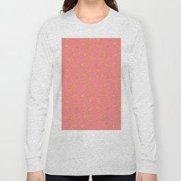 Modern coral faux gold glitter starry pattern Long Sleeve T-shirt