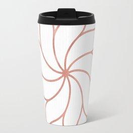 Mandala Flowers Rose Gold on White Travel Mug