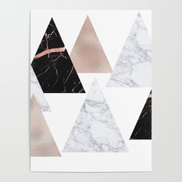 Marble rose gold geometric triangles Poster