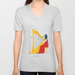 Woman harpist Unisex V-Neck