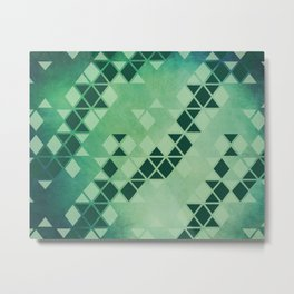 Forest Green -  Geometric Triangle Pattern Metal Print