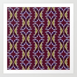 Yellow Burgundy Ornament Baroque Damask Pattern Art Print
