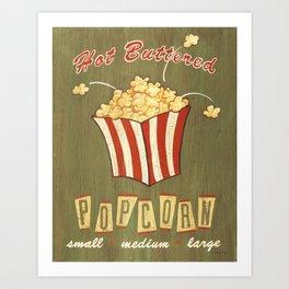 Retro popcorn Art Print