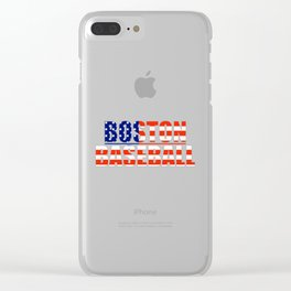 Baseball USA Blue and Red Clear iPhone Case