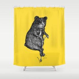 Ride On Bear_yellow Shower Curtain