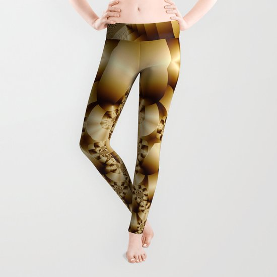 Golden shapes and patetrns in 3-D Leggings